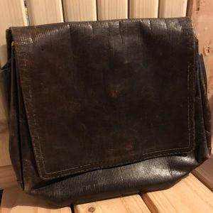 Vintage Fendi Clutch Hand Bag Brown Leather